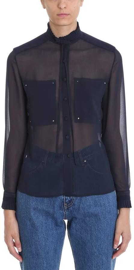 Golden Goose Petrol Blue Sheer Frill Collar Shirt