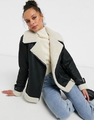 New Look faux-fur lined contrast aviator jacket in black