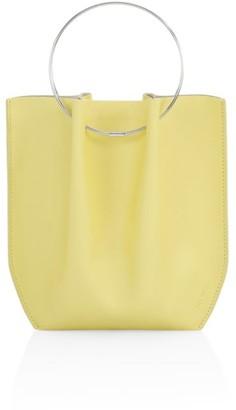 The Row Micro Flat Circle Leather Bucket Bag