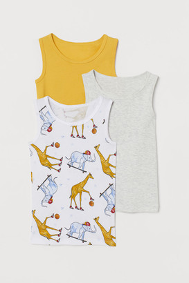 H&M 3-pack Cotton Tank Tops - Yellow