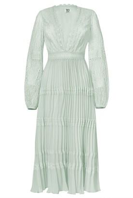 True Decadence Mint Lace Long Sleeve Pleated Midi Dress