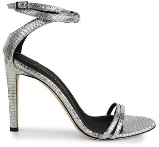 Giuseppe Zanotti Catia Ankle-Wrap Metallic Lizard-Embossed Leather Sandals