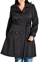 City Chic Plus Size Women's Corset Back Trench Coat