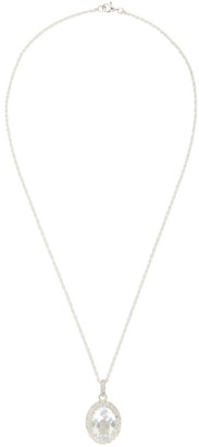 Hatton Labs Silver and White HL Crown Stone Pendant Necklace