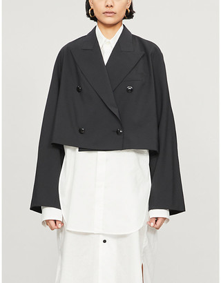 Y's Ys Cropped double-breasted wool-blend jacket