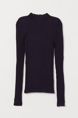 H&M Ribbed Mock-turtleneck Sweater - Blue