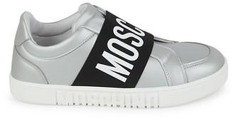 Moschino Matte Metallic Logo Strap Sneakers