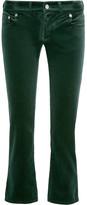 MM6 MAISON MARGIELA Cropped Velvet Slim-leg Pants - Forest green