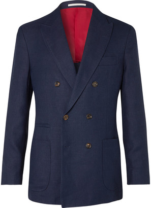 Brunello Cucinelli Navy Slim-fit Double-breasted Unstructured Linen, Wool And Silk-blend Blazer - Blue
