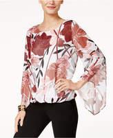 Alfani Petite Printed Blouson Top, Created for Macy's