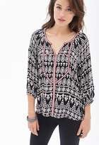 Forever 21 FOREVER 21+ Contemporary Embroidered Tribal Print Tunic