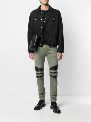 Balmain Distressed Khaki Green Pants
