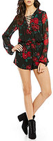 Lovers + Friends Violetta Rose Print Chiffon Lace-Up Neck Long Sleeve Romper