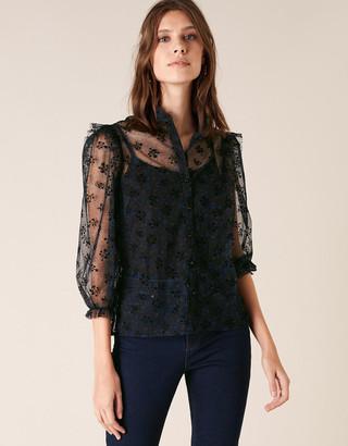 Under Armour Floral Print Lace Blouse Black