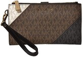 MICHAEL Michael Kors Jet Set Double Zip Wristlet (Brown Multi) Handbags