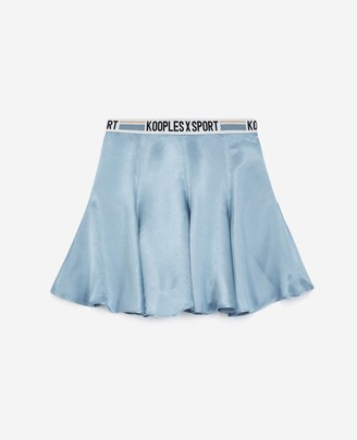 The Kooples Flowing blue skater skirt with logo band