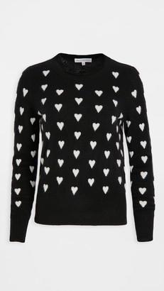 White + Warren Polka Heart Crew Neck Cashmere Sweater