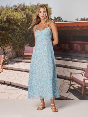 Diane von Furstenberg TVF Souffle Chiffon-Blend Midi Dress