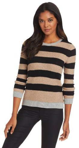 Shae Women's Long Sleeve Moss Stitch Contrast Pullover Cashmere Blend Sweater