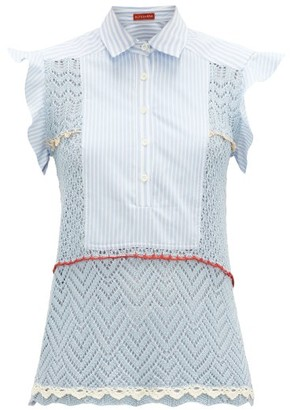 Altuzarra Batten Poplin-panel Cotton-crochet Top - Womens - Light Blue