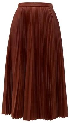 Prada Pleated Leather Midi Skirt - Womens - Brown
