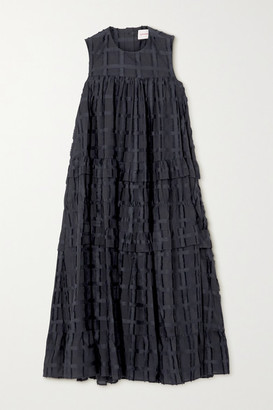 &Daughter Tiered Cotton Fil Coupe Midi Dress - Black