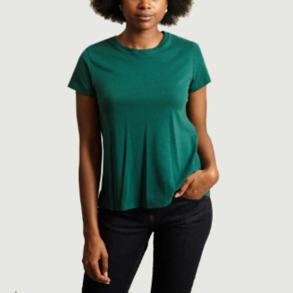 Majestic Filatures Green Cotton and Cashmere T-Shirt - 2 | green | cotton - Green/Green