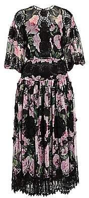 Dolce & Gabbana Women's Chiffon Floral-Print Lace Panel Midi Dress