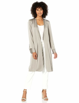 Halston Women's Long Sleeve Satin Duster Jacket