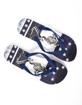 Religion Skeleton Flip Flop Blue