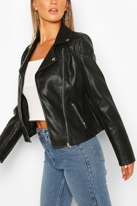 boohoo Quilt Detail Faux Leather Biker Jacket