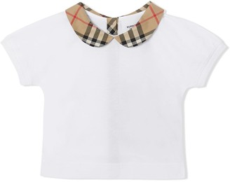 BURBERRY KIDS check-collar T-shirt