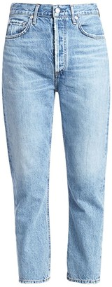AGOLDE Riley High-Rise Cropped Straight-Leg Jeans