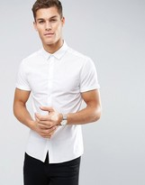 Asos Skinny Shirt In White With Short Sleeves
