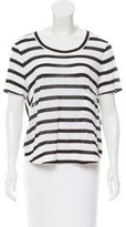 A.L.C. Striped Print High-Low T-Shirt