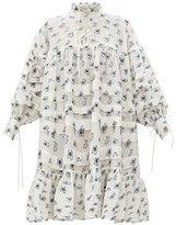 Cecilie Bahnsen - Macy Oversized Pleated Rose Fil-coupe Shirtdress - Womens - White Multi