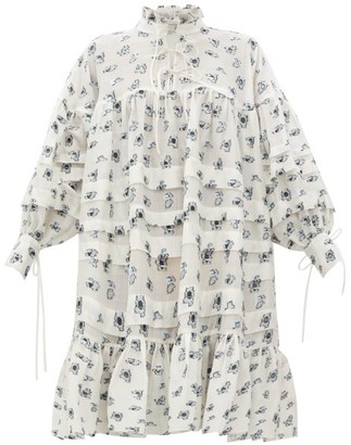 Cecilie Bahnsen Macy Oversized Pleated Rose Fil-coupe Shirt Dress - White Multi