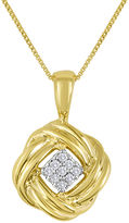 JCPenney FINE JEWELRY Diamond-Accent 10K Yellow Gold Love Knot Cluster Pendant Necklace