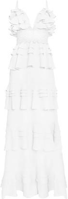 True Decadence White Linen Tiered Ruffle Maxi Dress With Crochet Waistband