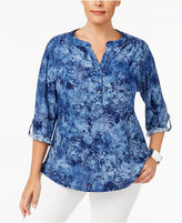 NY Collection Plus Size High-Low Utility Top