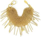 Roberto Cavalli Lux Golden Metal Mesh Bracelet w/Crystals