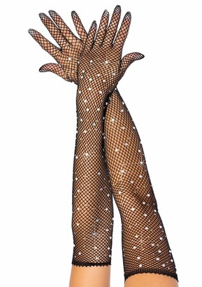 Leg Avenue Women's Rhinestone Fishnet Long Gloves