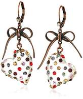 """Betsey Johnson Confetti"""" Mixed Multi-Colored Stone Lucite Heart Drop Earrings"""