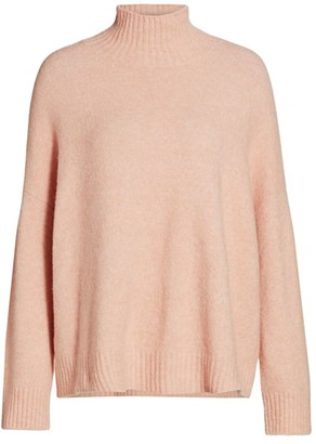 Eileen Fisher Turtleneck Boxy Cashmere-Blend Sweater