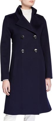 Fleurette Notch-Collar Double-Breasted Wool Coat