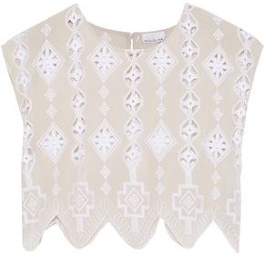 Miguelina Deva Cropped Broderie Anglaise Cotton-voile Top