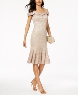R & M Richards Lace Sweetheart-Neck Dress