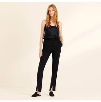 Amanda Wakeley Black Slim Leg Trousers With Ribbon
