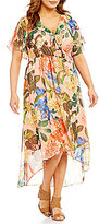 Gibson & Latimer Plus Cold Shoulder Floral Wrap Dress