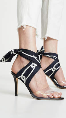 Monse Chain Print Ankle Wrap Sandals